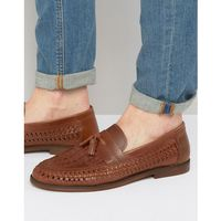 River Island Woven Leather Loafers With Tassels In Tan - Tan