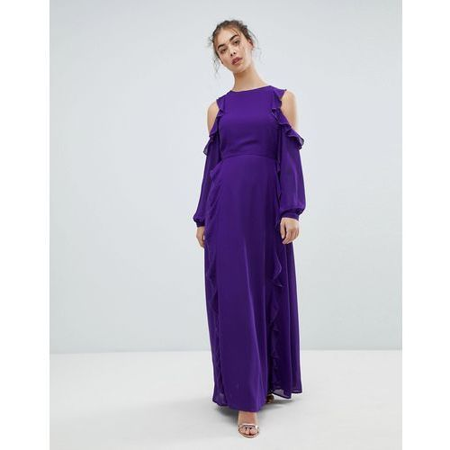 Glamorous Cold Shoulder Frill Dress - Purple