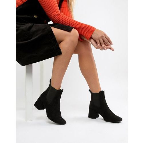 New Look Heeled Square Toe Ankle Boot - Black