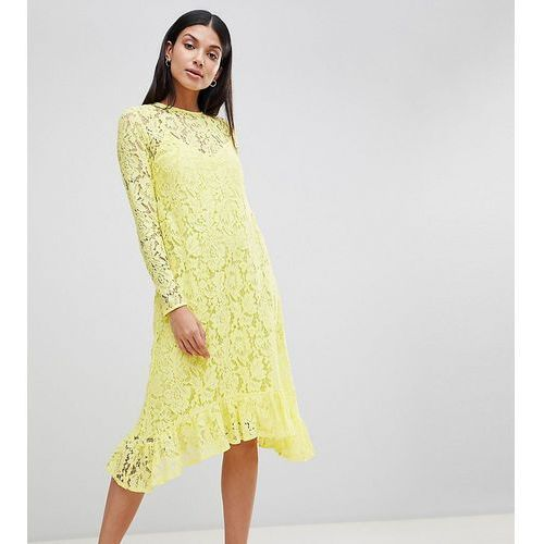 Asos tall Asos design tall lace midi swing dress with ruffle hem - yellow