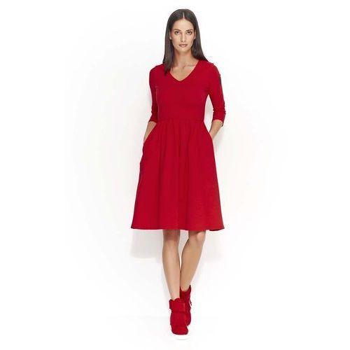 Czerwona Dresowa Sukienka z Szerokim Dołem, kolor czerwony