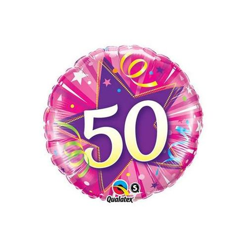 Balon foliowy na 50 urodziny różowy - 46 cm