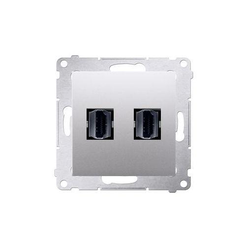 Gniazdo podtynkowe Kontakt-Simon 54 DGHDMI2.01/43 HDMI podwójne srebrny mat (5902787557843)