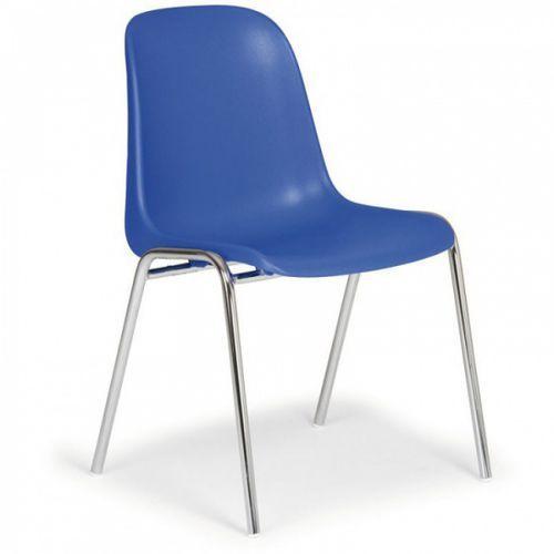 Plastikowe krzesło kuchenne ELENA 2017, niebieski - chromowane nogi, kolor niebieski