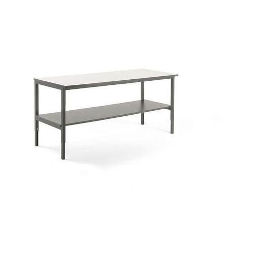 Stół roboczy cargo, z półką dolną, 2000x750 mm, biały, szary marki Aj produkty