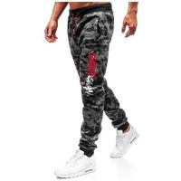 Spodnie męskie dresowe joggery moro-grafitowe Denley 55093, dresowe