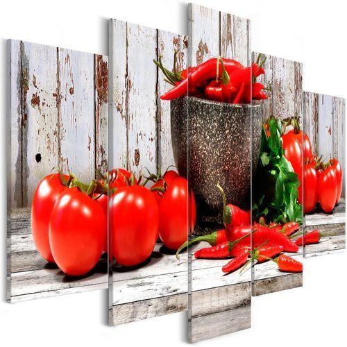Obraz - Czerwone warzywa (5-częściowy) drewno szeroki