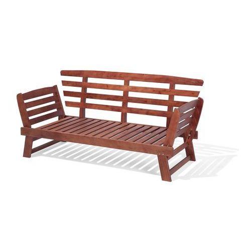 Sofa ogrodowa drewniana ciemnobrązowa regulowane podłokietniki portici marki Beliani