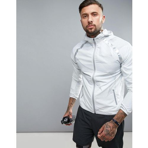 sport jacket with hood in grey linear print - white, New look