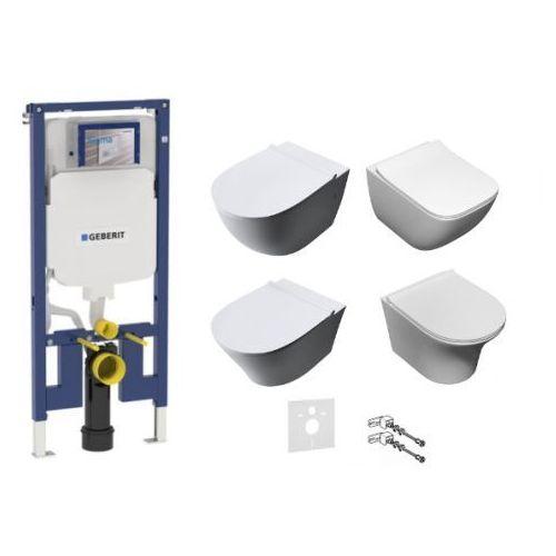 Zestaw podtynkowy: stelaż Geberit Duofix Slim (UP320), misa WC serii Rimless, deska wolnoopadająca, mata oraz wsporniki dystansowe
