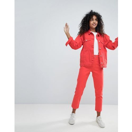 Monki taiki red high waist mom jeans - red