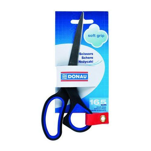 Nożyczki biurowe soft grip, 16,5cm, niebieskie marki Donau