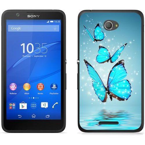 Sony Xperia E4 - etui na telefon - Kolekcja boho - niebieskie motyle - J84, kolor niebieski