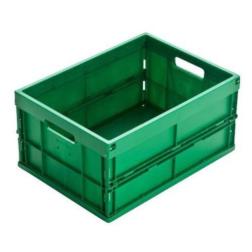 Pojemnik składany z polipropylenu, poj. 32 l, zielony. Z polipropylenu o wysokie