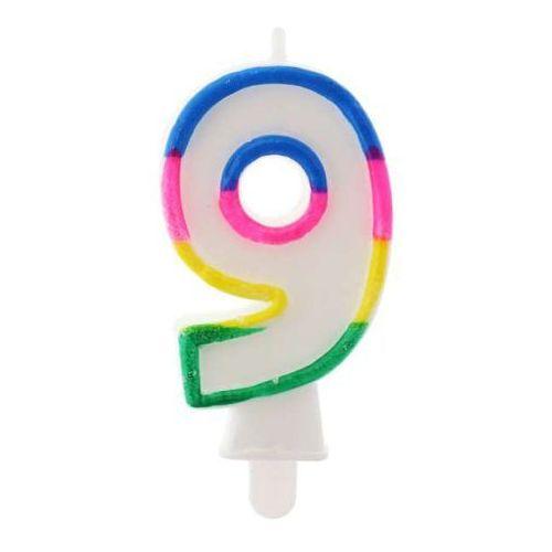 Świeczka cyferka 9 7,5 cm fluor /swf9-td marki Go