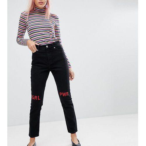 Monki Kimomo Girl Power Mom Jeans - Black, jeans