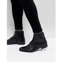 Pier one leather brogue boots in black - black