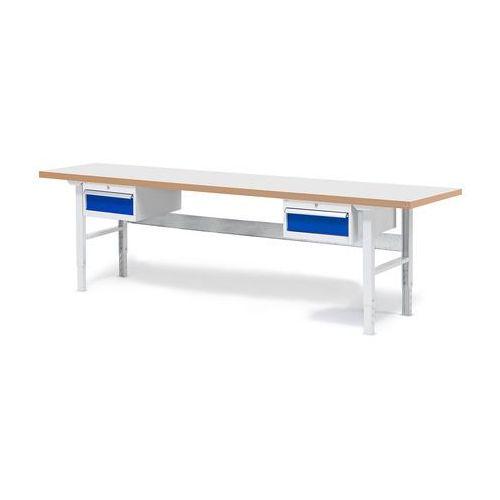Stół roboczy SOLID, z 2 szufladami, 500 kg, 2500x800 mm, laminat, 232140