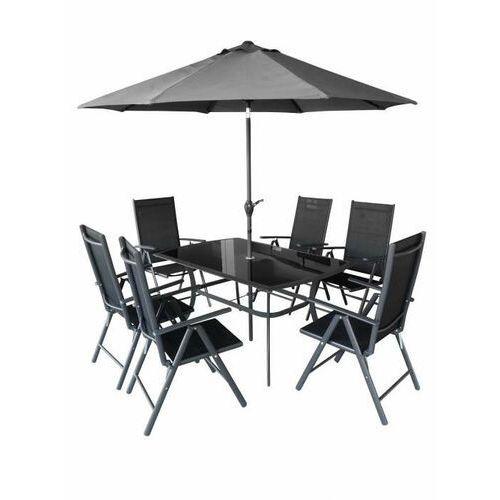 Hecht czechy Hecht shadow set meble ogrodowe zestaw mebli ogrodowych stół + 6 krzeseł + parasol aluminium szkło - ewimax oficjalny dystrybutor - autoryzowany dealer hecht (8595614908429)