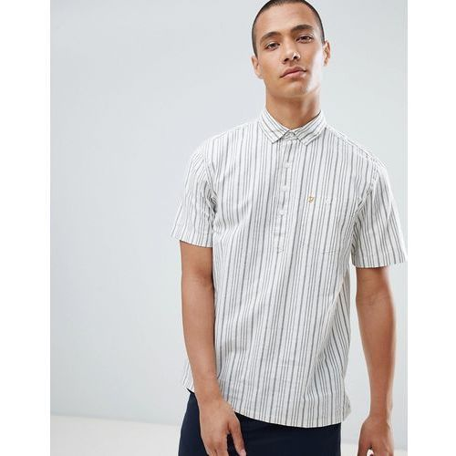 Farah Calderdale Pop Over Stripe Short Sleeve Shirt in Navy - Navy