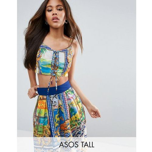 Asos tall  crop top with lace up front in postcard print co-ord - multi