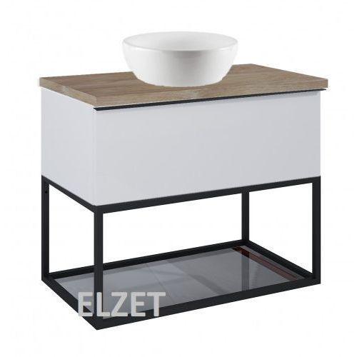 szafka look 1s stone matt pod umywalkę nablatową + szklana półka + uchwyt czarny + blat 80 dąb classic 167595+167666+167516+166899 marki Elita