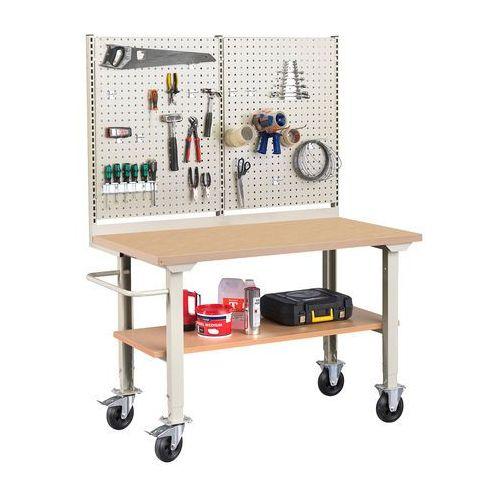Mobilny stół warsztatowy robust, z wyposażeniem,1500x800 mm, płyta hdf marki Aj produkty