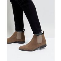 New look faux suede chelsea boots in stone - stone