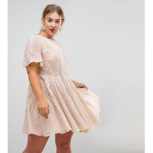 ASOS CURVE Gold Sparkle Skater Mini Dress - Beige