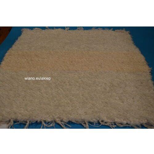 Twórczyni ludowa Chodnik bawełniany (wycieraczka) ręcznie tkany ecru, w środku pas nieco ciemniejszy 65x50