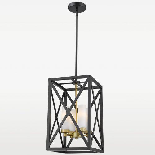 LAMPA wisząca EVO P04124BZ metalowa OPRAWA klatka zwis szklane tuby czarna biała złota (5902115963124)