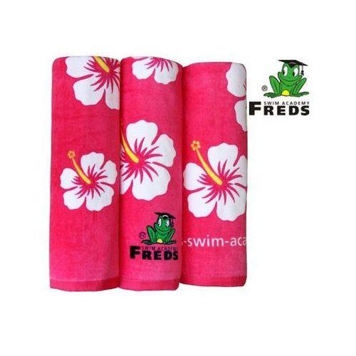 Swimtrainer Freds fsar - ręcznik plażowy hibiskus z weluru 70 x 140 cm - różowy (4039184220993)