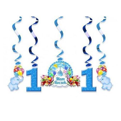 Świderki urodzinowe niebieskie na roczek - 60 cm - 5 szt