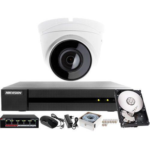Monitoring ip mieszkania, korytarza z rejestratorem ip hwn-4104mh, 1x kamera fullhd hwi-t220 + akcesoria marki Hikvision hiwatch