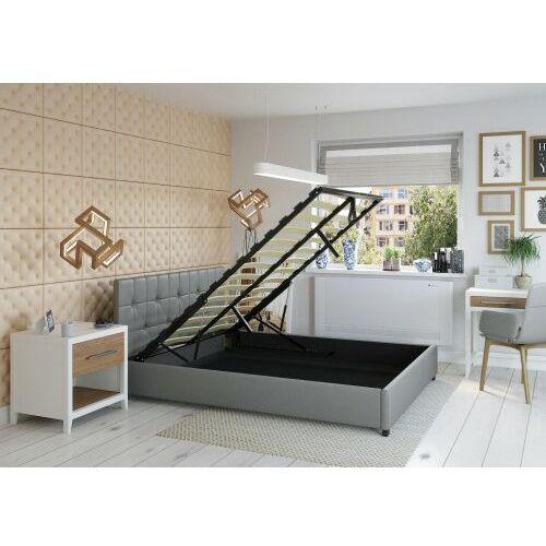 Big meble Łóżko 120x200 tapicerowane modena + pojemnik + materac ekoskóra szare
