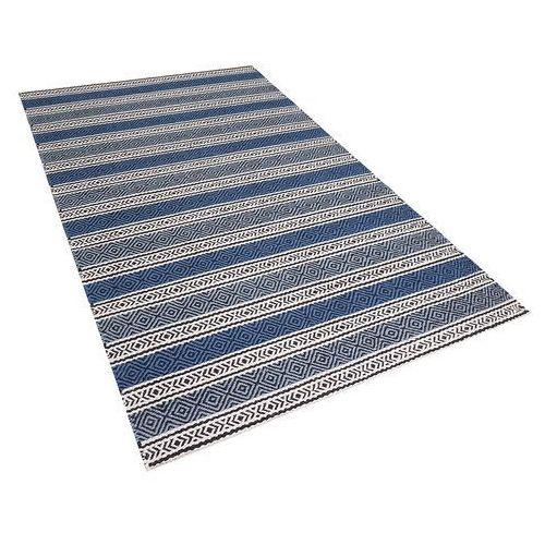 Beliani Dywan niebiesko-szary - 140x200 cm - wełna - chodnik - kilim - patnos (4260580921829)