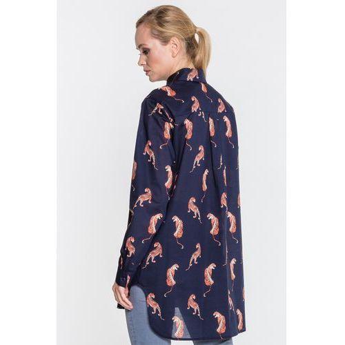 Dłuższa koszula z kołnierzykiem w tygrysy - Duet Woman, kolor niebieski