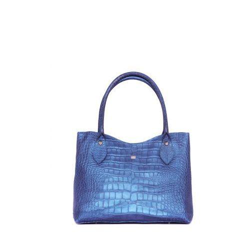 Niebieska torebka w tłoczony wzór krokodyla - Sagan, kolor niebieski