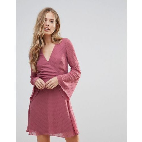 Oh My Love Textured Flare Sleeve Baby Doll Dress - Pink, kolor różowy