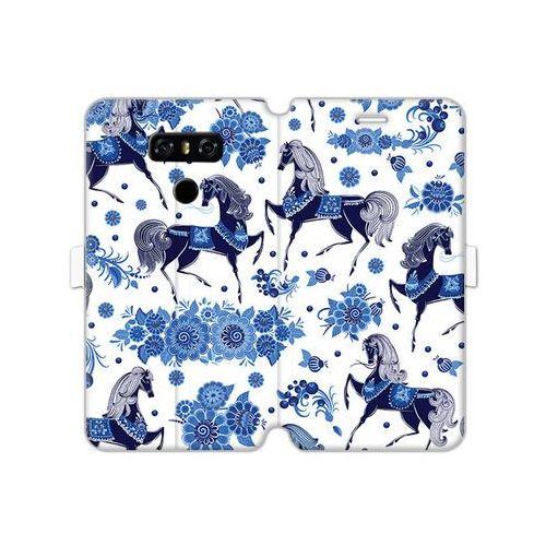 Lg g6 - etui na telefon wallet book fantastic - folkowe niebieskie konie marki Etuo wallet book fantastic