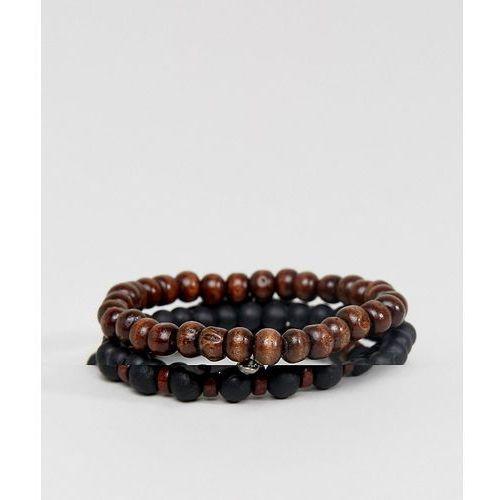 design beaded bracelet pack in black and brown with skull - black marki Asos