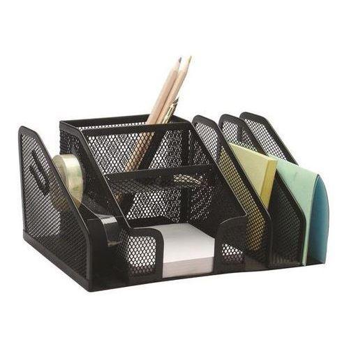 Przybornik na biurko Q-CONNECT Office Set, metalowy, 2 komory, czarny, KF16573
