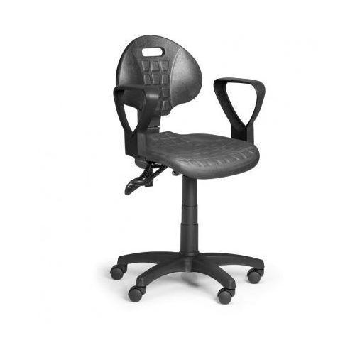 Krzesło pur z podłokietnikami, asynchroniczna mechanika, do miękkich podłóg marki Euroseat