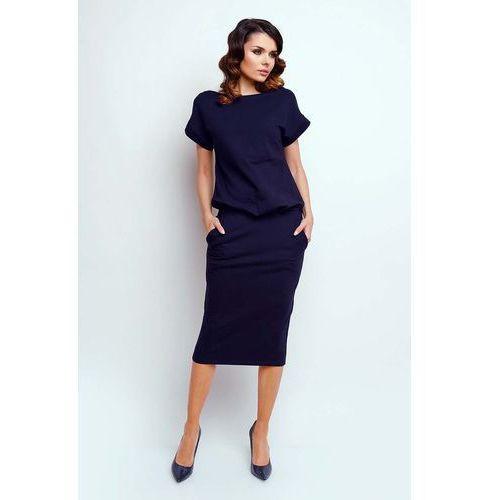 Granatowa Nowoczesna Sukienka Midi z Krótkim Rękawkiem, w 7 rozmiarach