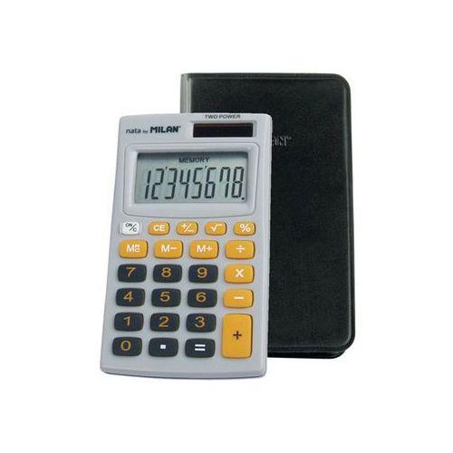 Kalkulator kieszonkowy w etui 8 pozycyjny, szaro - pomarańczowy marki Milan