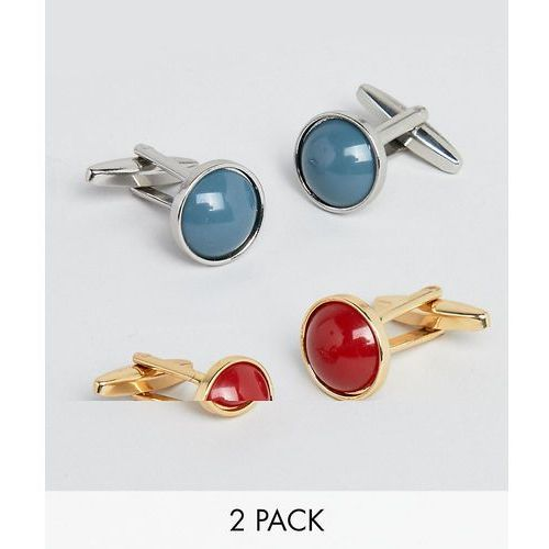 Designb london Designb red & blue circle cufflinks in 2 pack exclusive to asos - multi