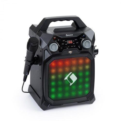 rockstar lightshow, sprzęt karaoke, bluetooth, usb, line-in/out, 2 x 6,3mm, czarny marki Auna