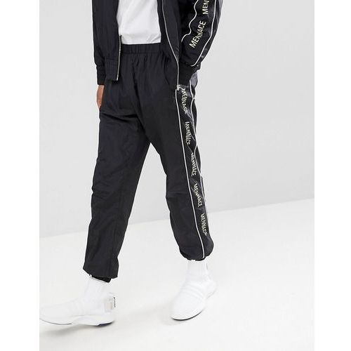 joggers in black shell suit with signature side stripe - black marki Mennace
