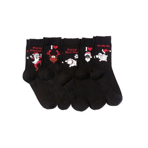 Skarpetki bożonarodzeniowe (5 par) czarny, Bonprix