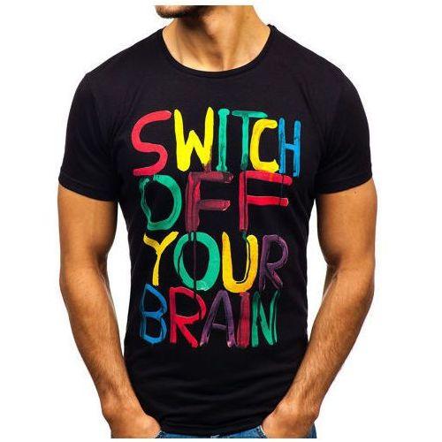 T-shirt męski z nadrukiem czarny 1181 marki Bolf